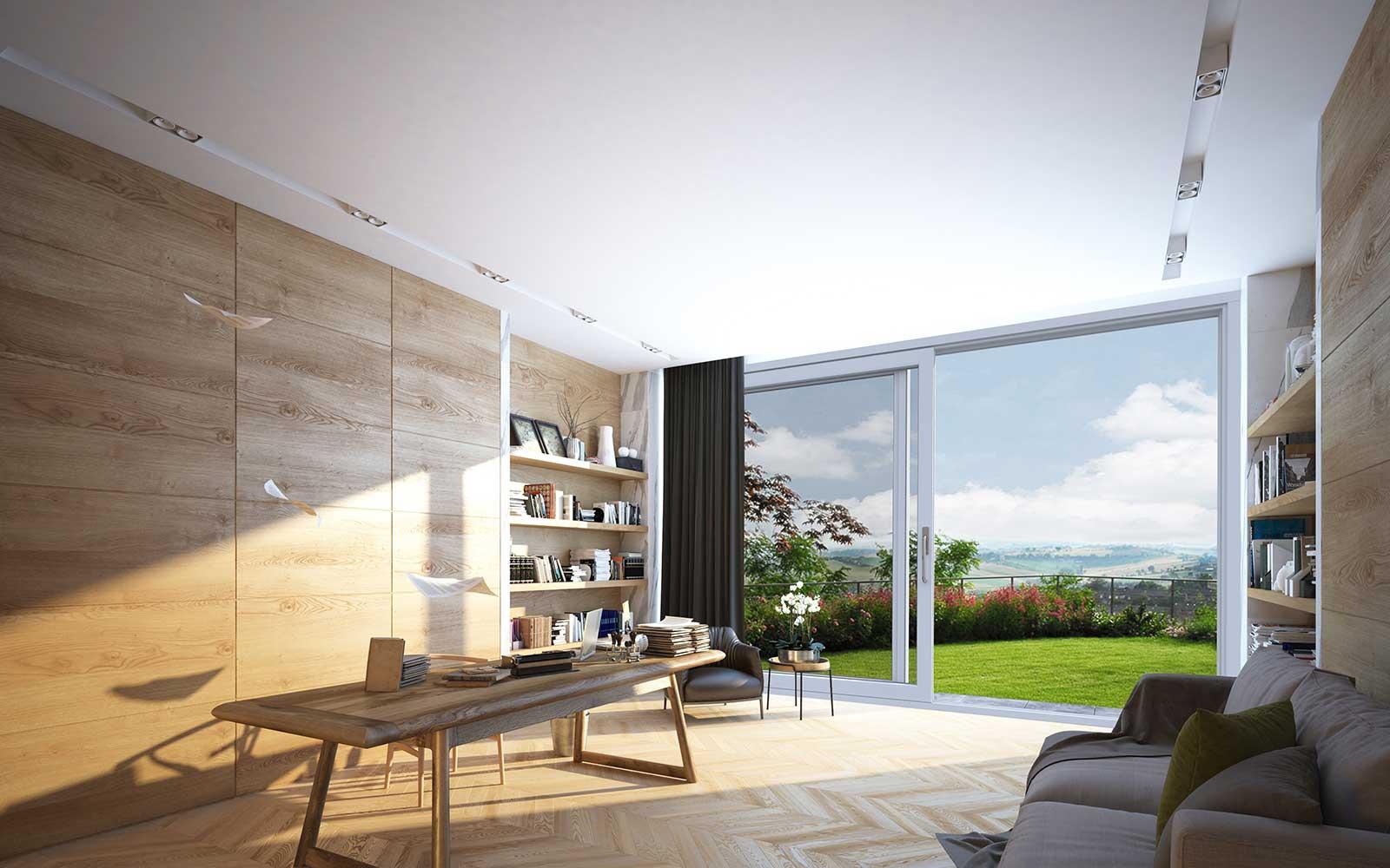 una sala con un tavolo una libreria e vista dell'esterno