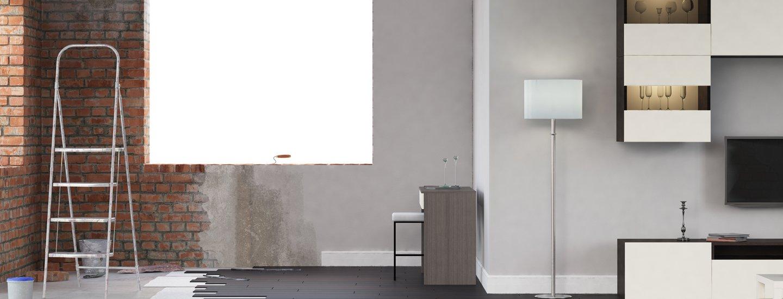 imbiancatura pareti di un soggiorno