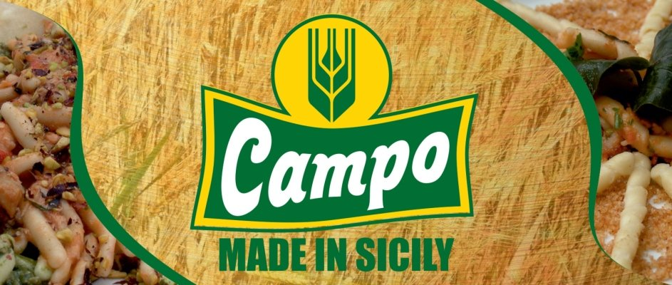 Campo logo with ears of grain in background