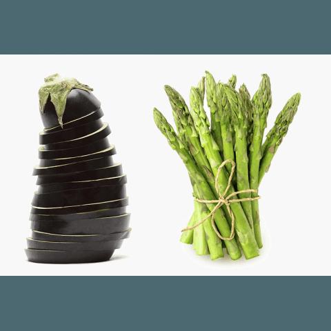 Eggplant and asparagus
