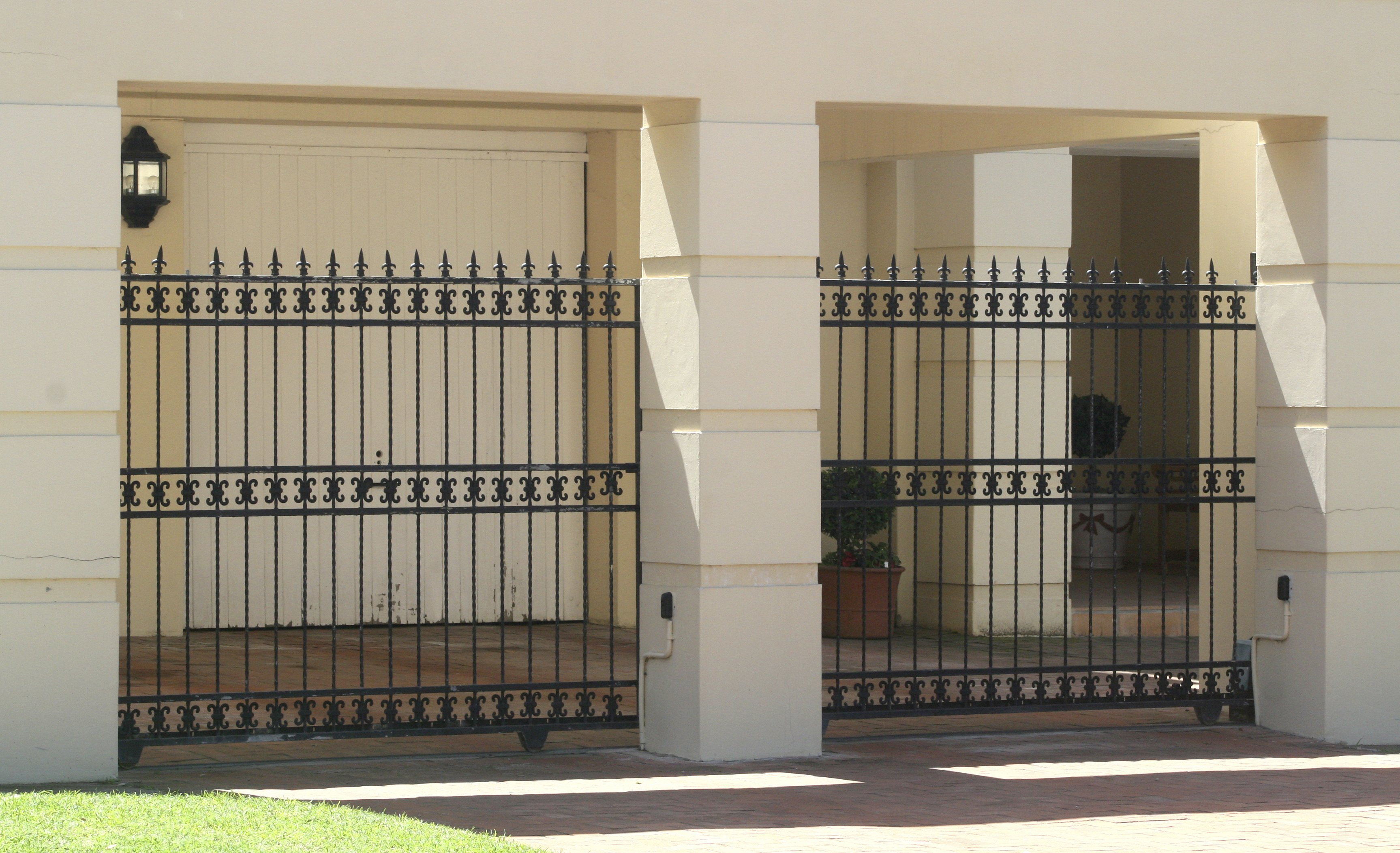 Artistic wrought iron automatic gates