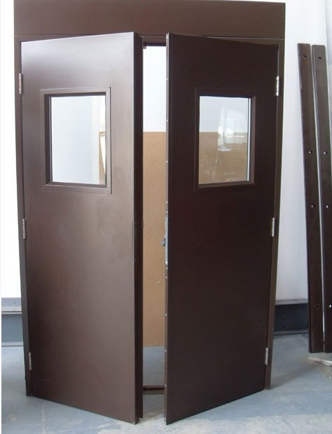 A double emergency exit with one door open