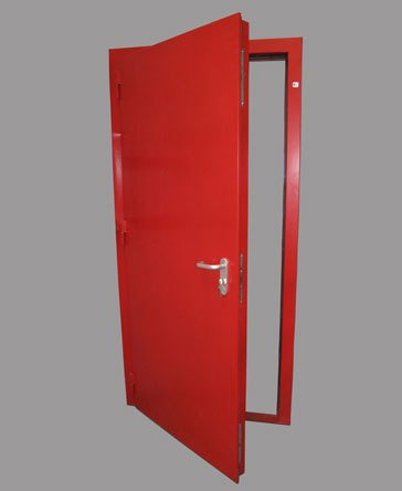 An example of a red fire door