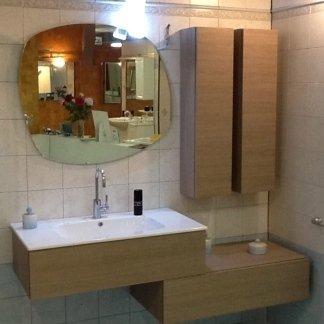 Composizione, cassettoni, lavabo, specchio, pensili