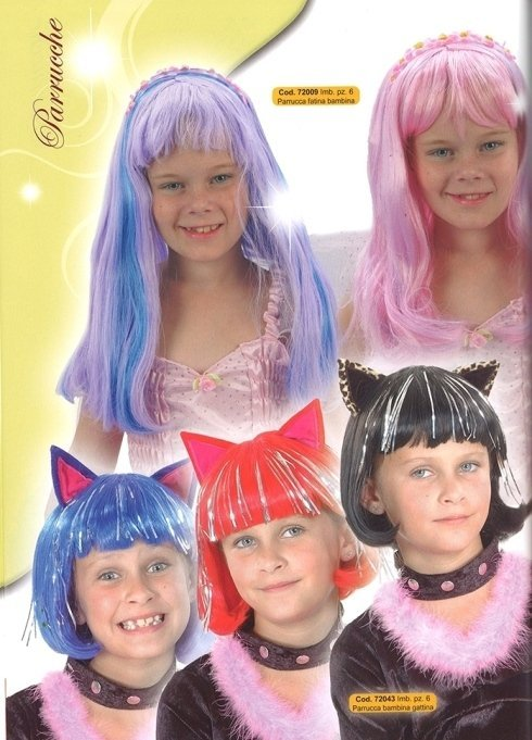 parrucche fatina e gattina per bambine