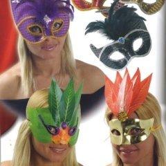maschere con piume, ampio assortimento, maschere a tema