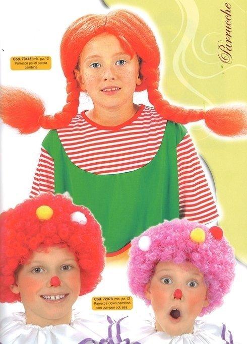 parrucca clown e pippi calzelunghe bambini