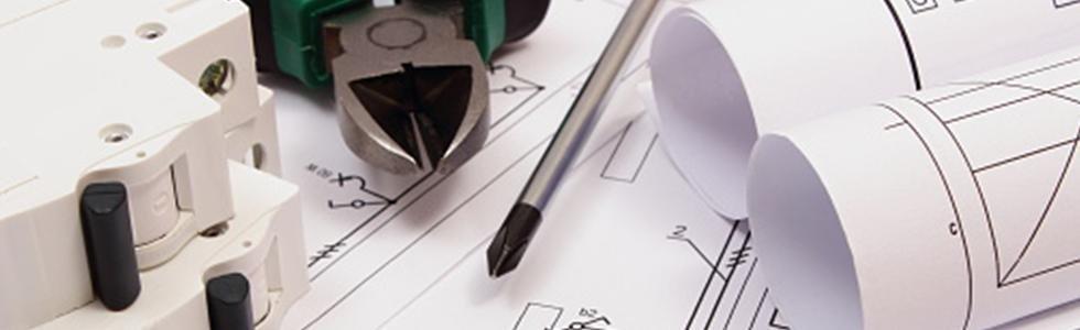 disegni di progetti e strumenti per lavori elettrici
