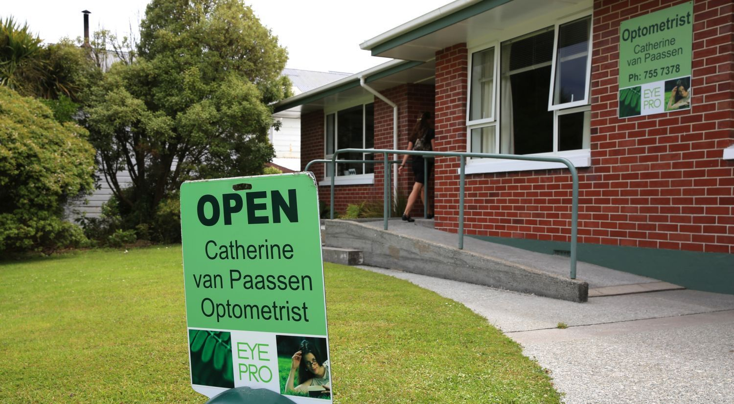 Outside our eyecare clinic in Hokitika