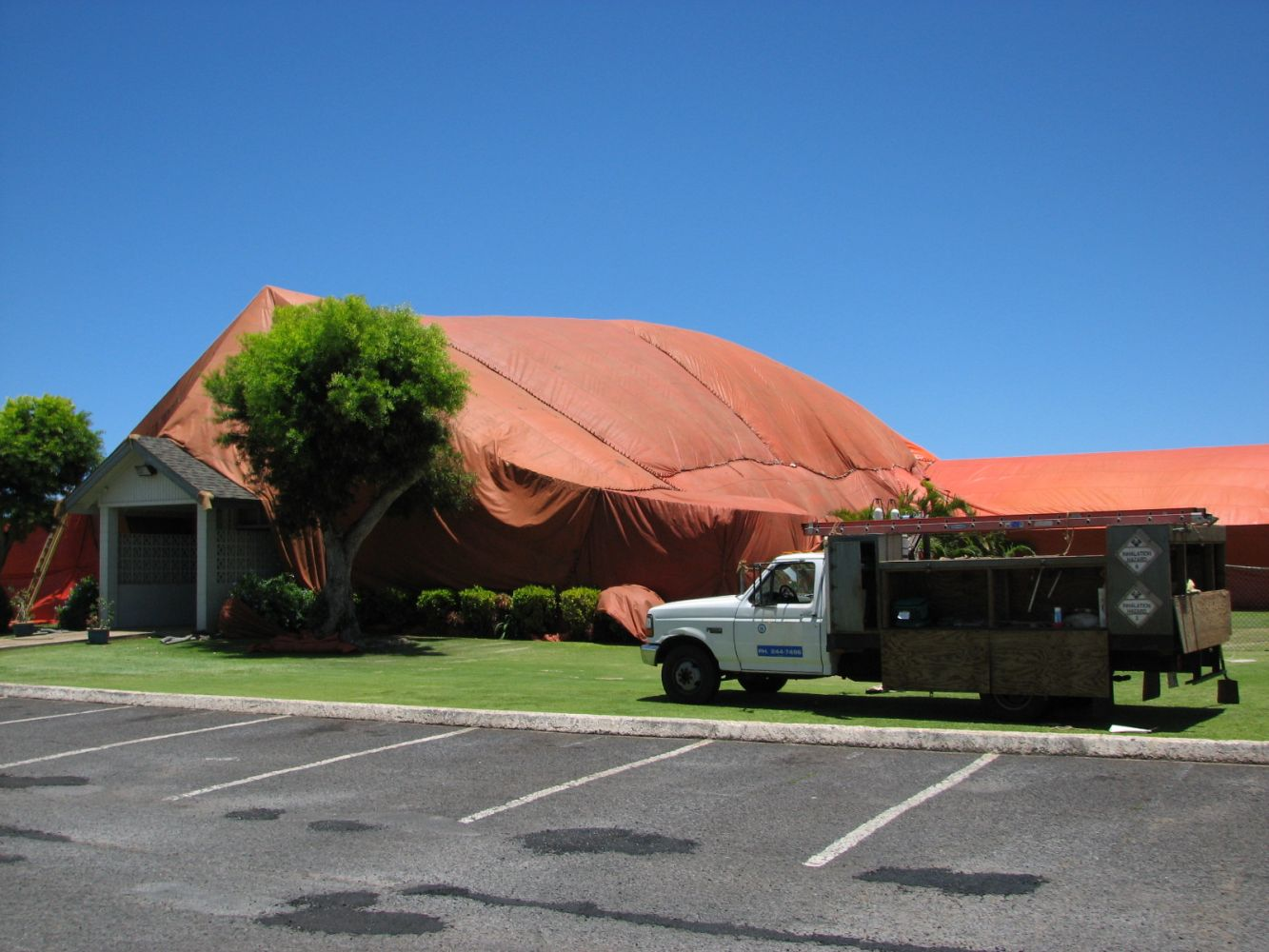 One of our exterminators performing pest and rodent control in Wailuku, HI