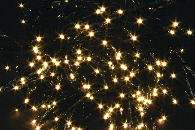 luci dorate per albero di Natale
