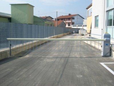 Barriera stradale con siepe.