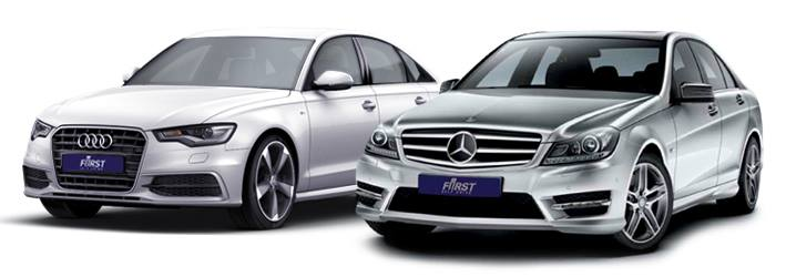 White Audi and Grey Mercedes Benz Hire Cars