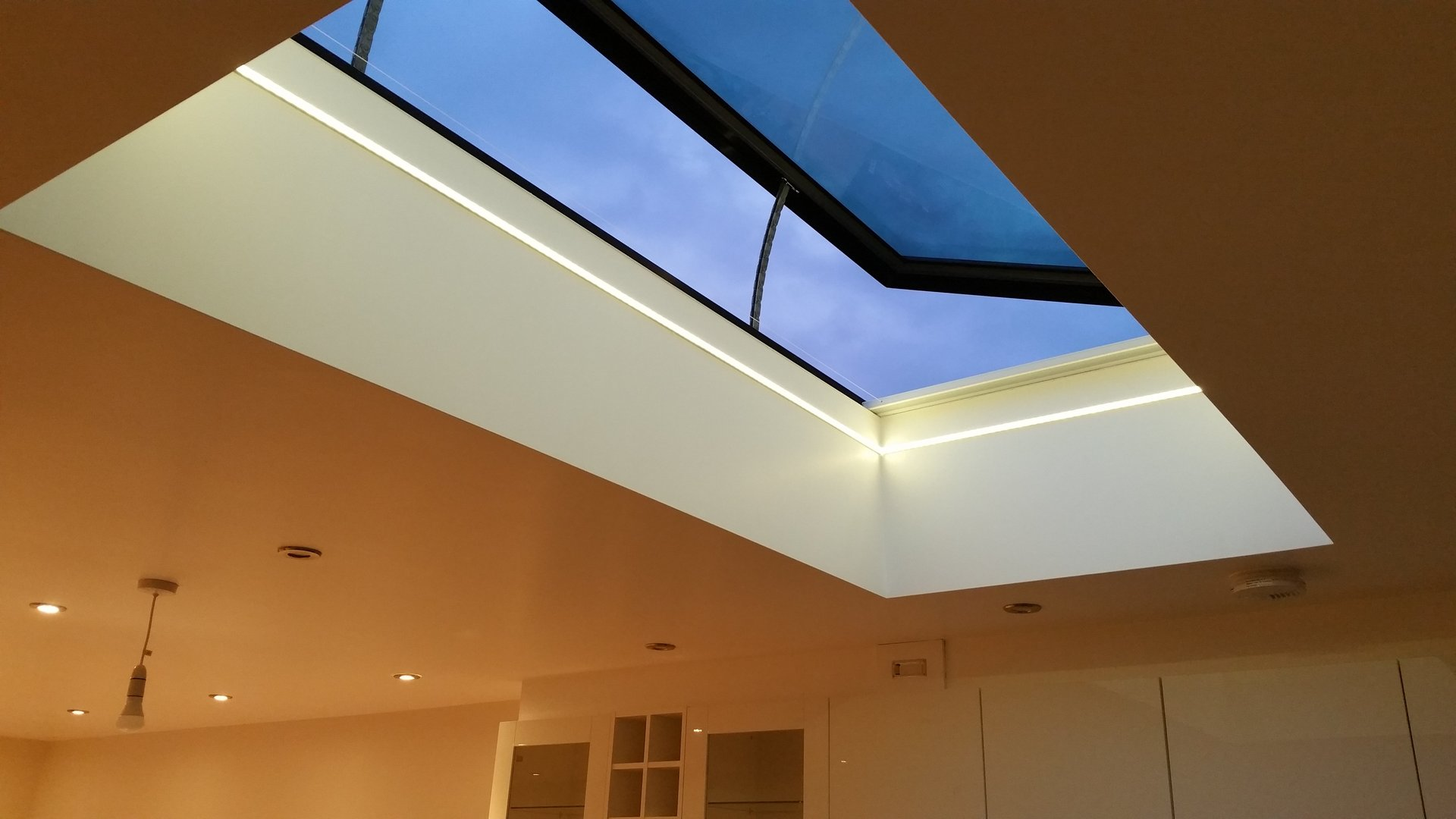 Electric opening rooflight installed by AJOB Electrical Ltd electrician in Leeds