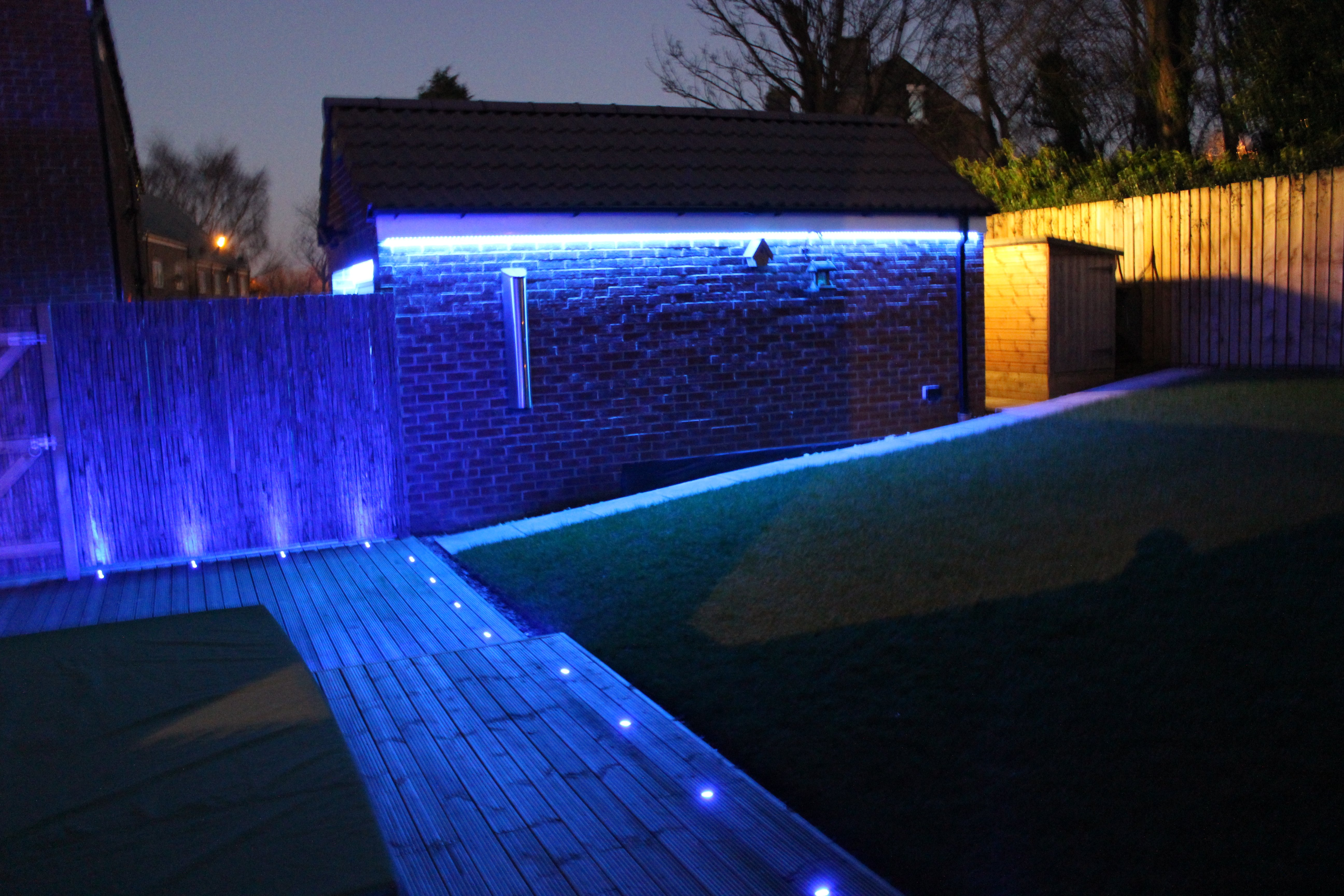 Garden LED lighting installed by AJOB Electrical Ltd electrician in Leeds