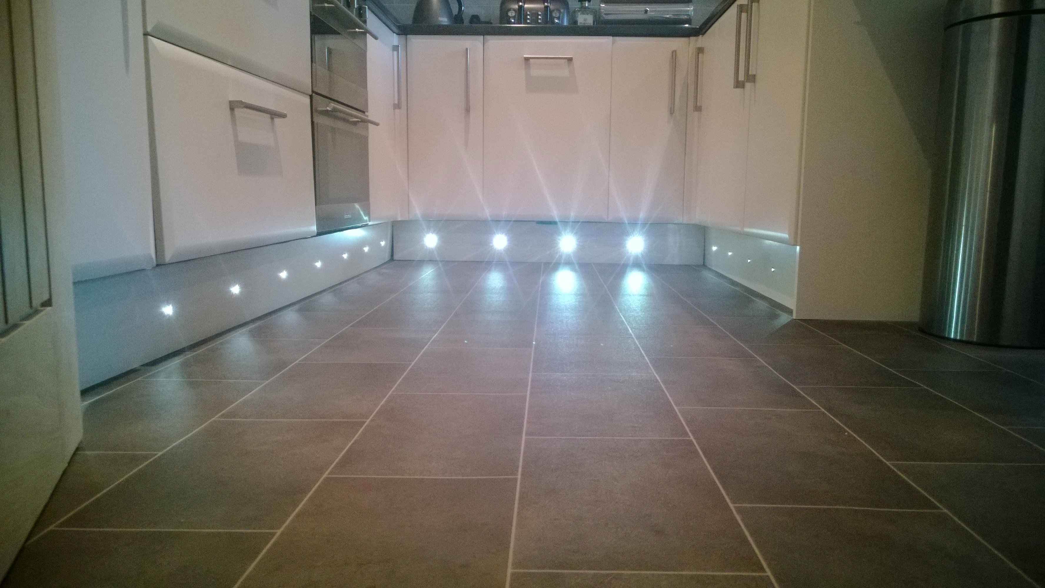 LED plinth lights installed by AJOB electrical Ltd electrician in Leeds
