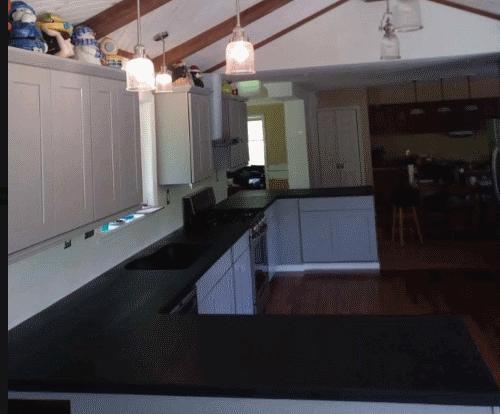 Black color granite in kitchen room