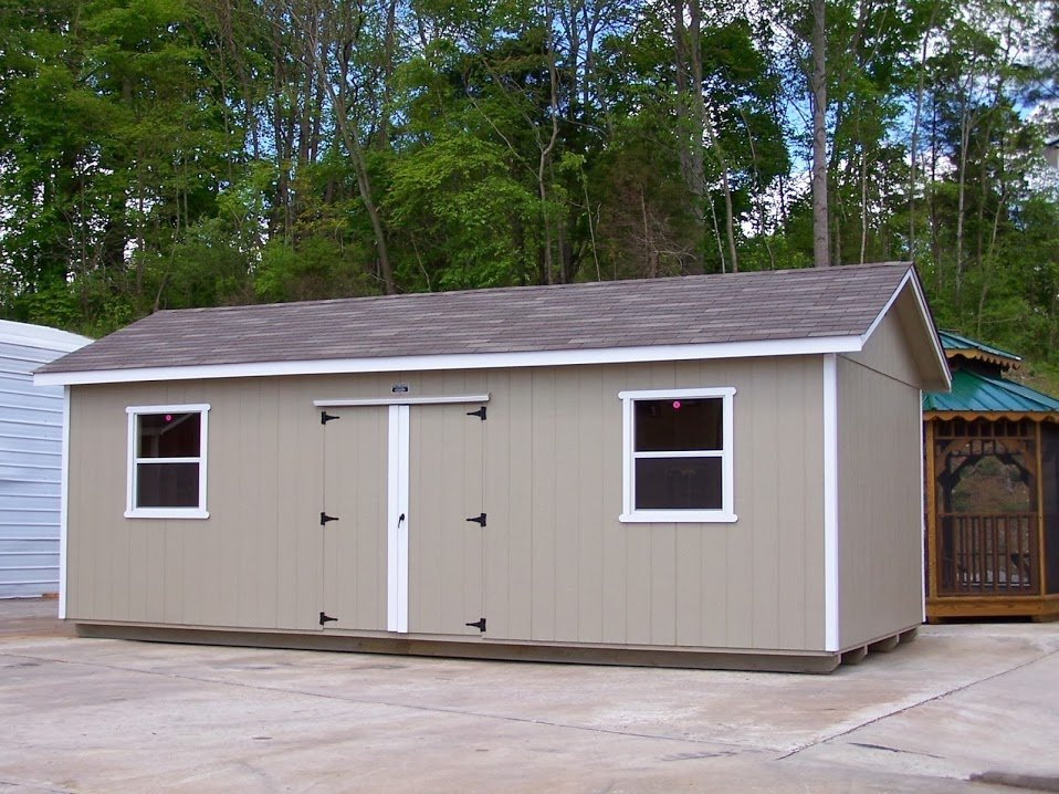 Portable wooden garden shed.