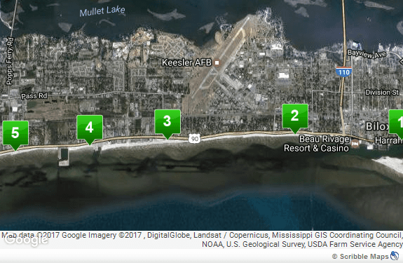 Map of Biloxi Beach