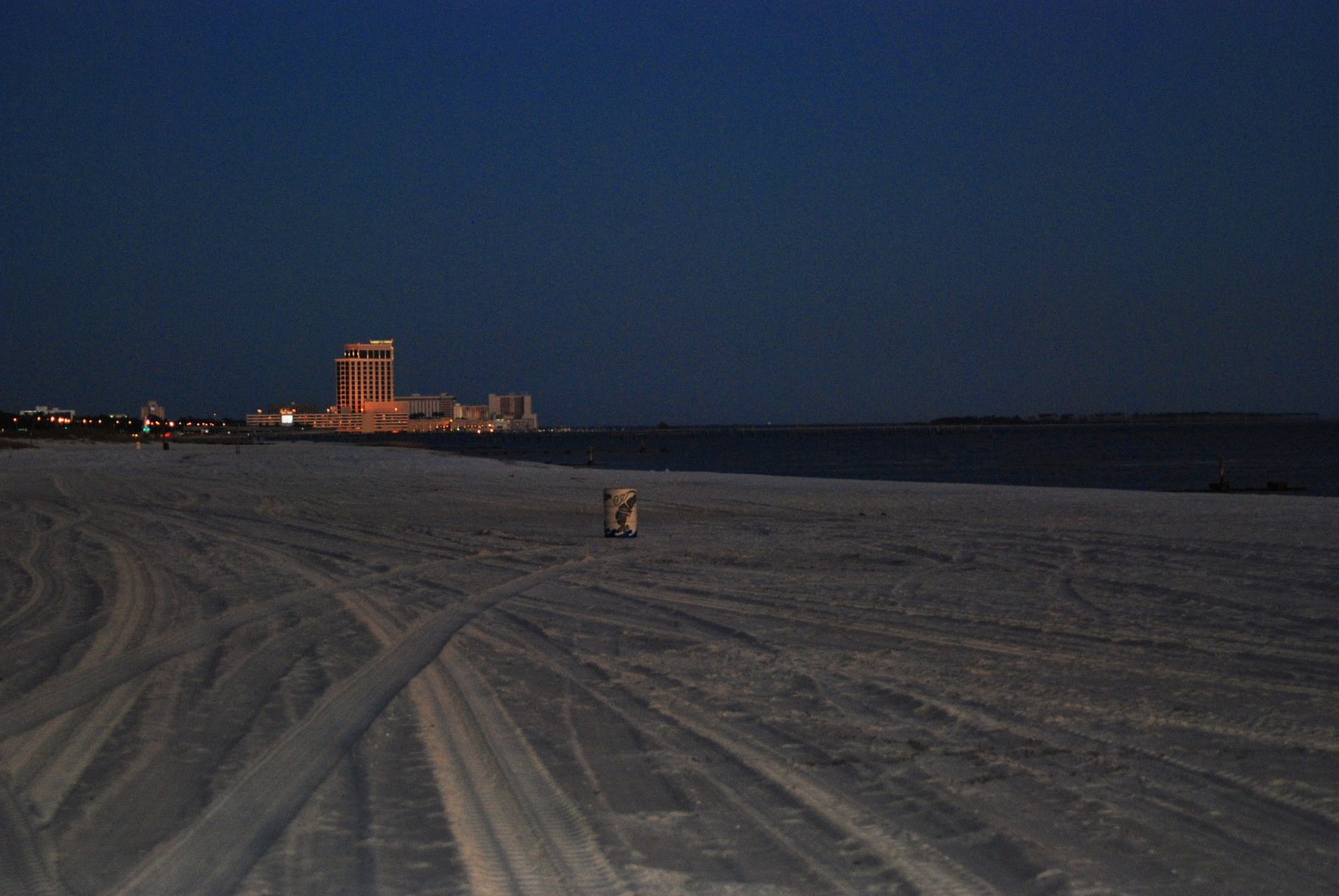 Biloxi Beach looking toward Beau Rivage at night