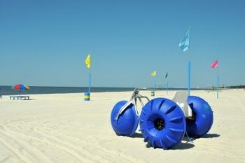 Beach in Biloxi with aquacycle rental