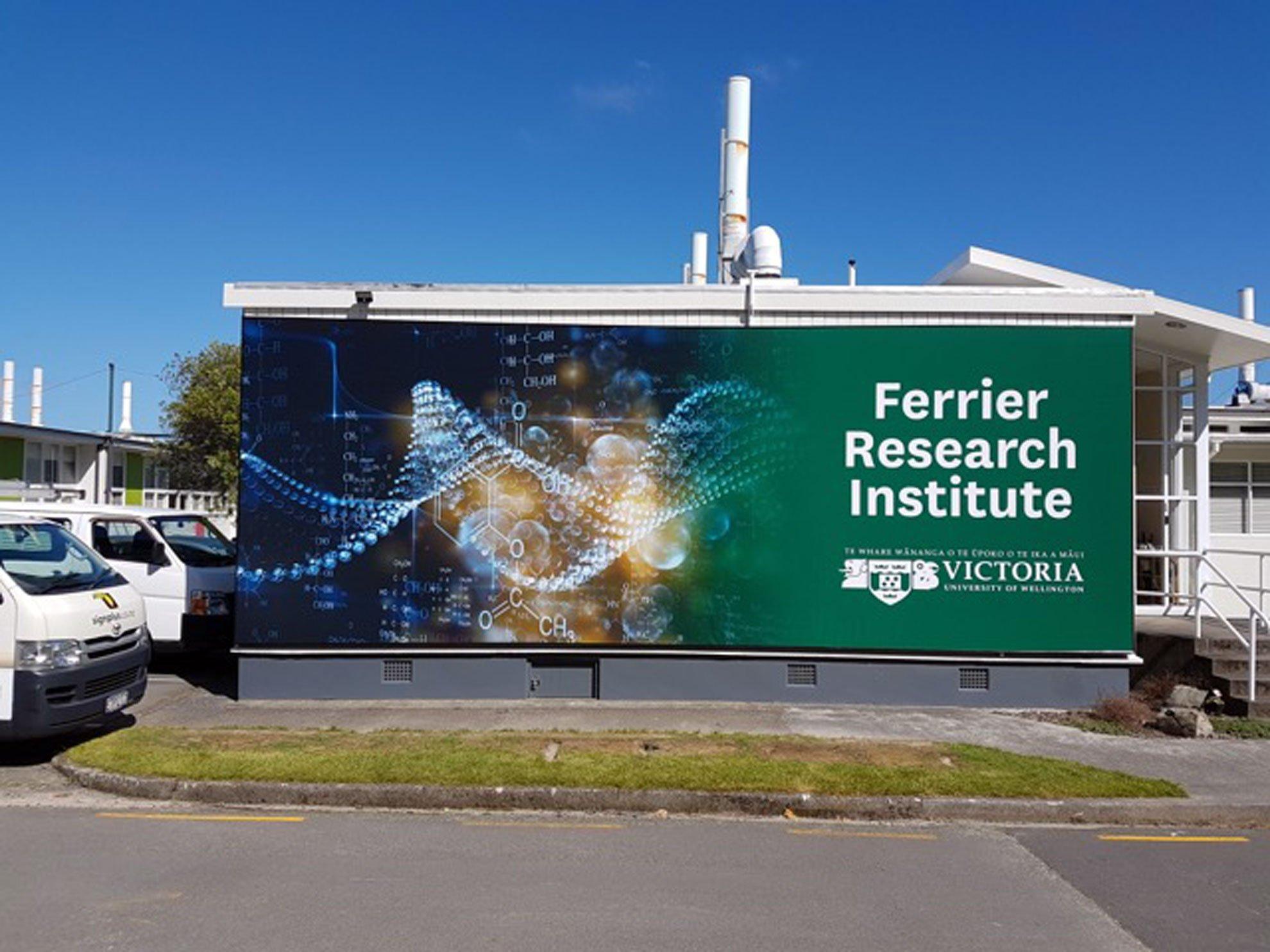 PVC billboard skin installed onto building