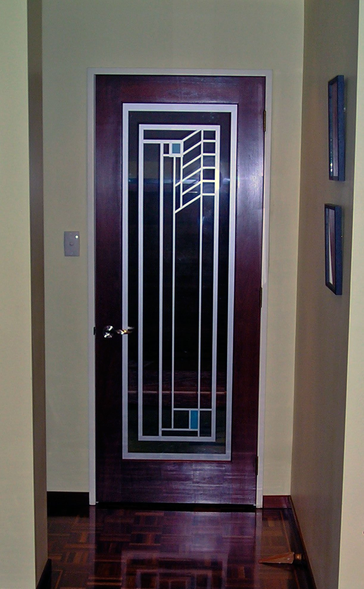 Window etch film with graphic design applied to home entrance door