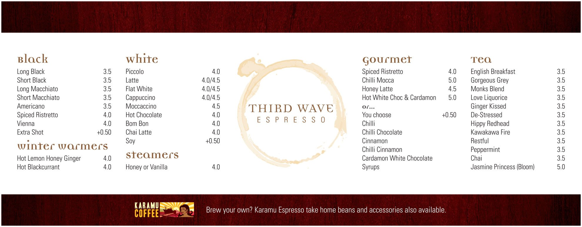 Digitally printed menu applied to backing board