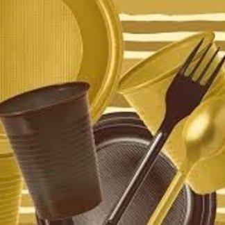 piatti plastica oro
