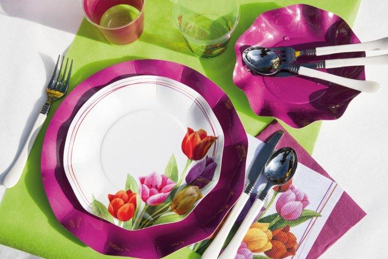 piatti in carta decorati tulipani