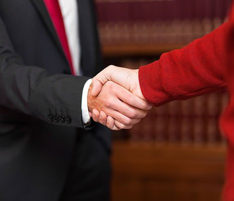 Client handshake with lawyer