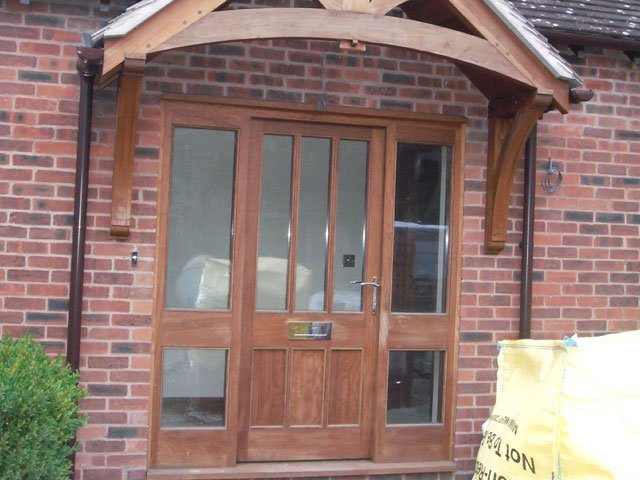 A timber doorwith side windows, hand crafted by B and P Joinery in Worcester