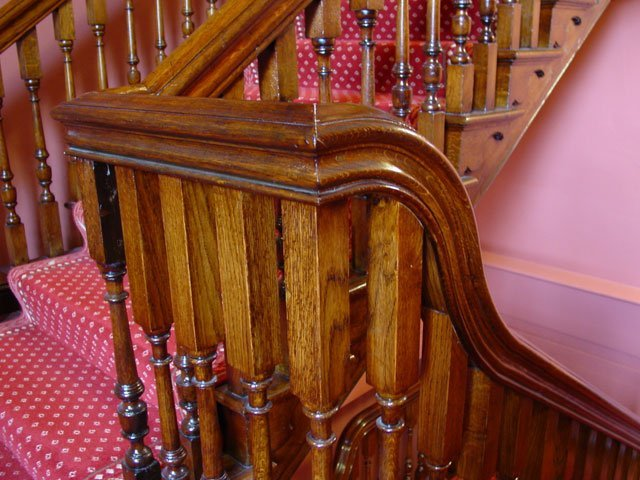 The bannister of the grand stair case at Worcester Guild Hall, installed by B and P Joinery in Worcester