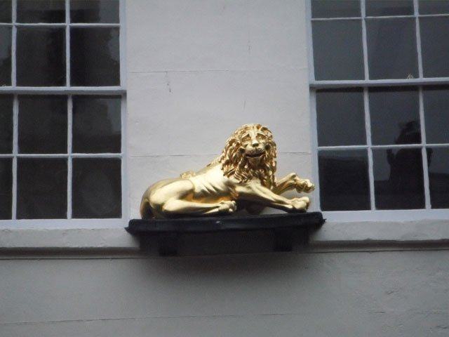 A timber carved lion, constructed at B and P Joinery in Worcester