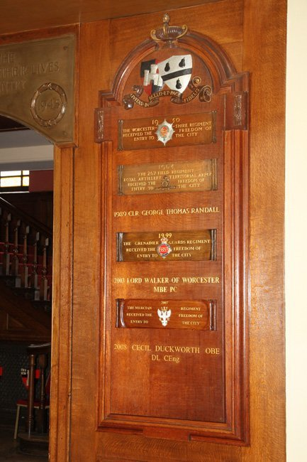 A commemorative timber panel installed at Worcester Guild Hall, by B and P Joinery