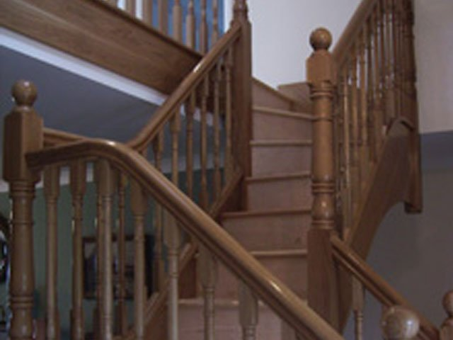 A timber staircase designed, constructed and installed by B and P Joinery in Worcester