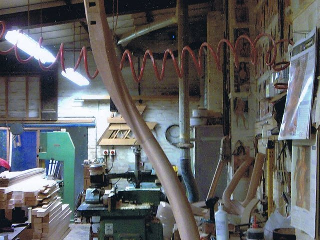 The wood work shop at B and P Joinery in Worcester