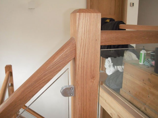 Timber and glass staircase and bannister, installed by B and P Joinery in Worcester