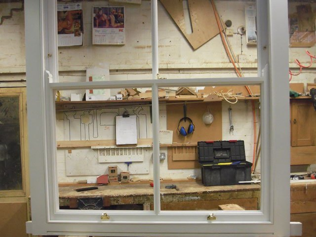Bespoke timber sash windows being constructed at B and P Joinery in Worcester