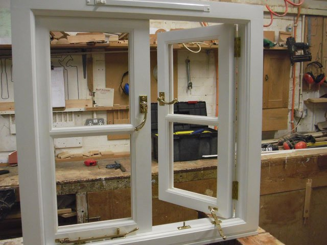 Bespoke timber casement windows being constructed at B and P Joinery in Worcester