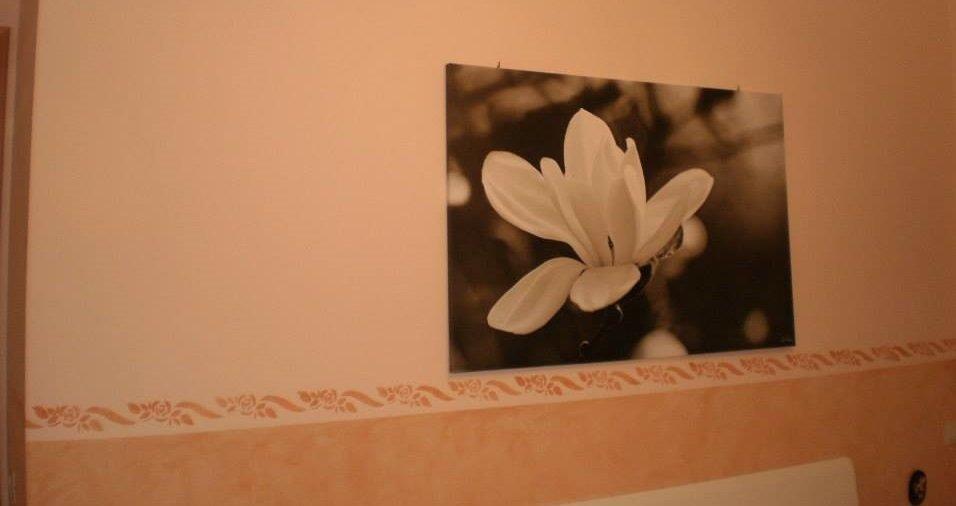 un muro color rosa sfumato con un disegno di un fiore bianco
