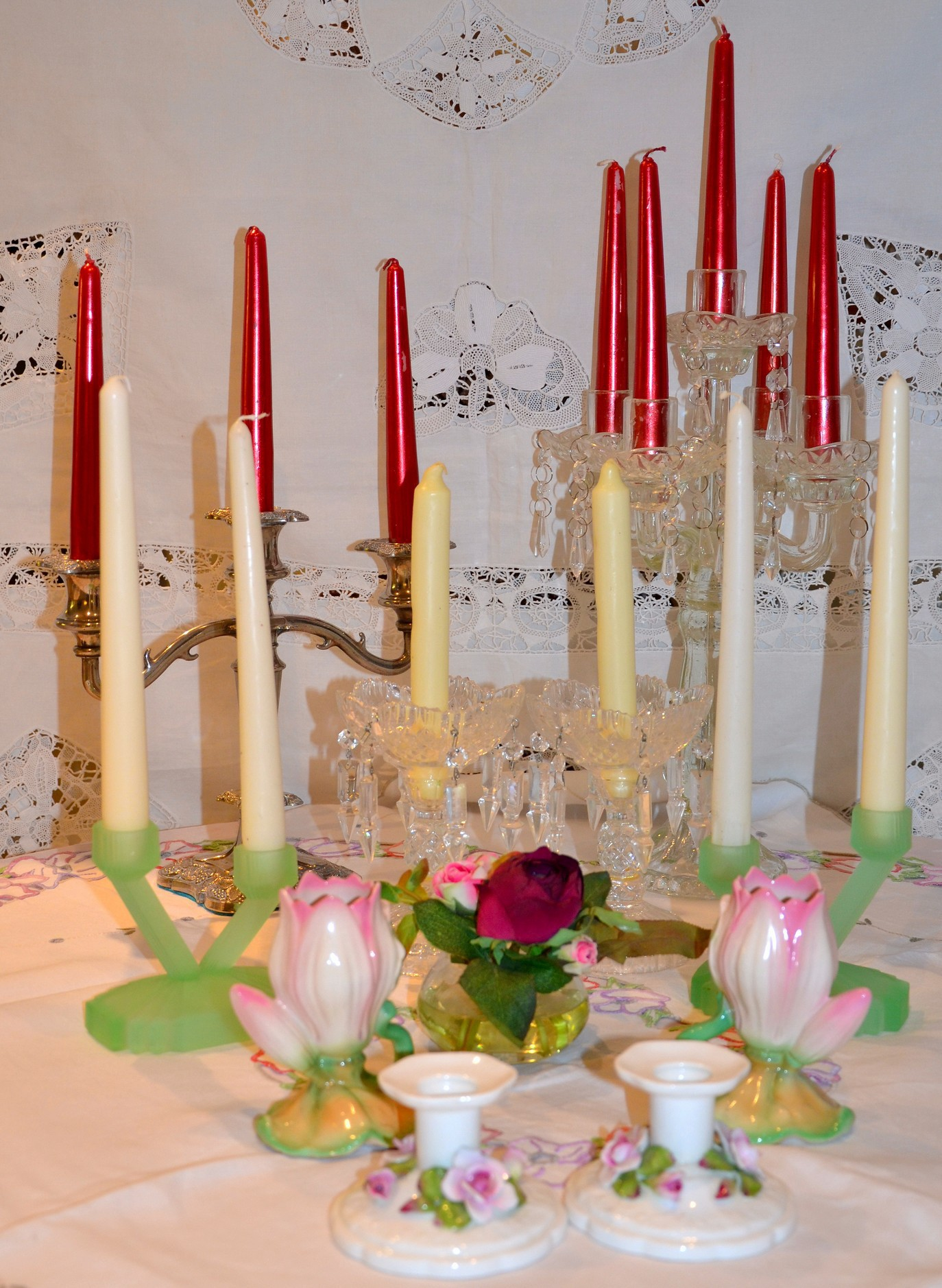 candles and glass holders