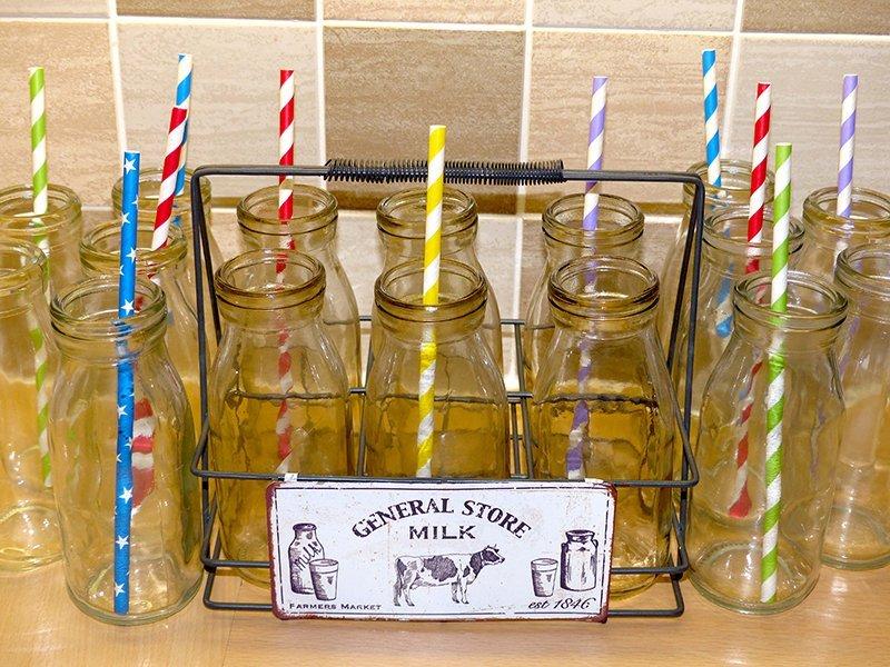 vintage milk bottles with straws