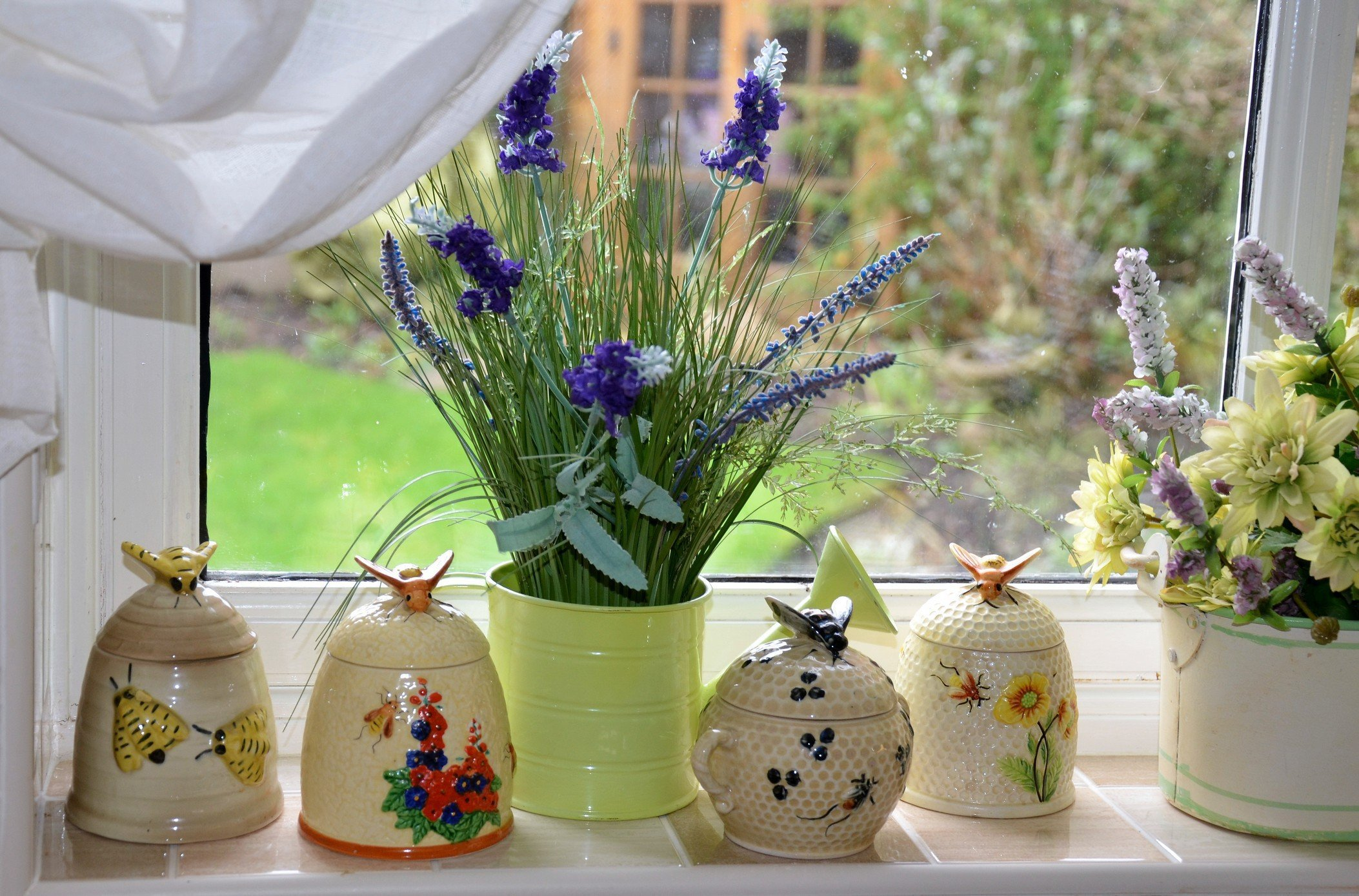 pot of lavender on window sill