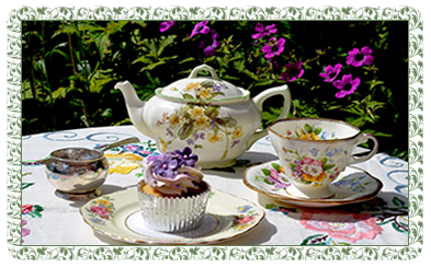 afternoon tea in the garden from floral china