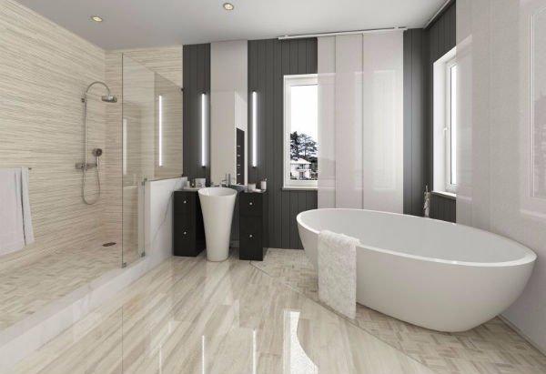 un bagno con pavimento in marmo