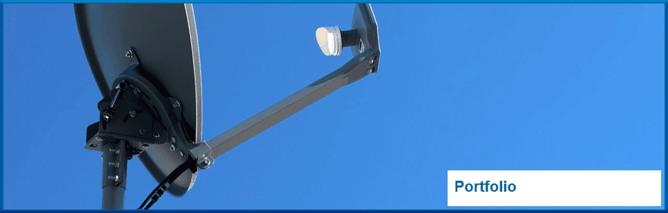 Satellite dish with a blue sky
