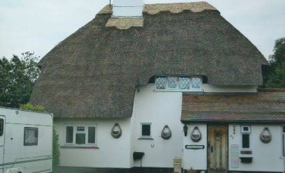 chimney on top of thatching