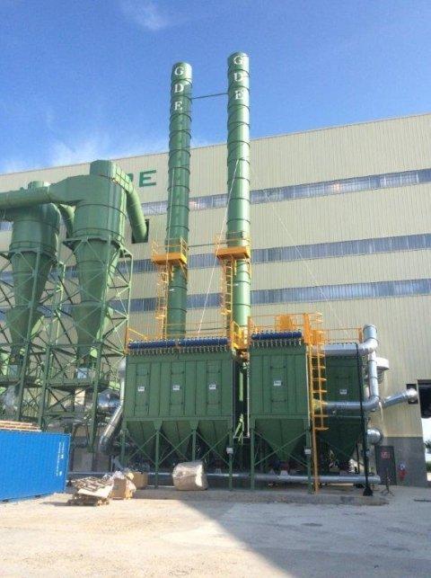 impianto industriale filtrazione polveri