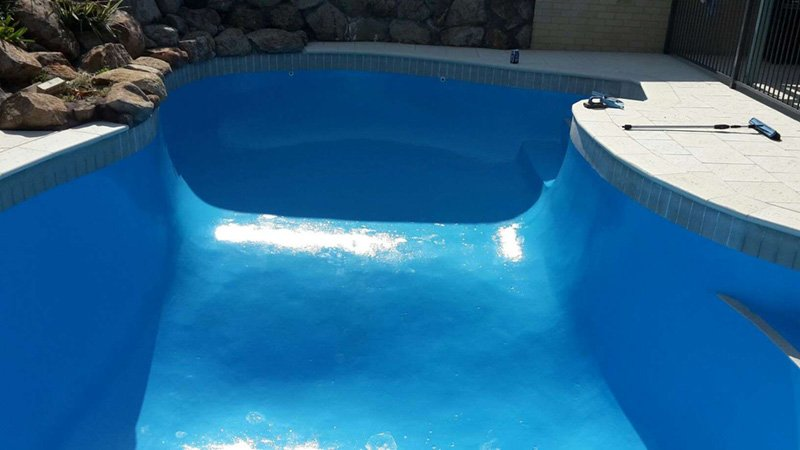 pool with new bright shiny new paint